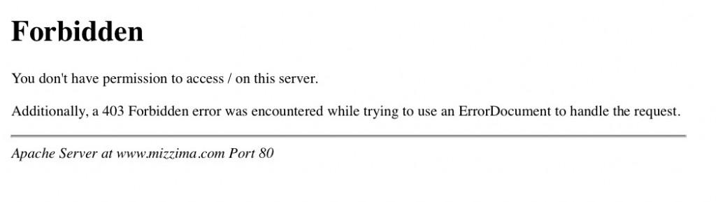 Error message - forbidden